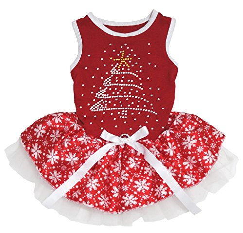 Petitebella Puppy Kleidung Xmas Tree Rot Schneeflocke Weihnachten Hund Kleid, X-Small, Rot -