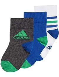 adidas Ankle S 3 Pair Pack Calcetines, Infantil, Energy Green/Collegiate Royal/Dark Grey Heather, EU 35-38