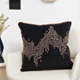 Valery Madelyn Deluxe Gold Black Cushion Cover Decorative Velvet Pillow Cover with Nailhead Studs Design (45x45cm)