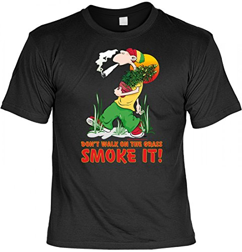 rohuf Design Witziges Drogen T-Shirt - Don't Walk on The Grass Smoke it - lustiges Motivshirt IM Geschenk Set mit Spassvogel Urkunde, Größe:5XL