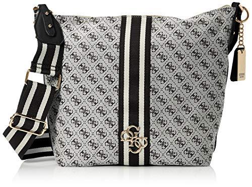 Guess Damen Vintage Hobo Schultertasche, Weiß (Black), 41x32x15 Centimeters