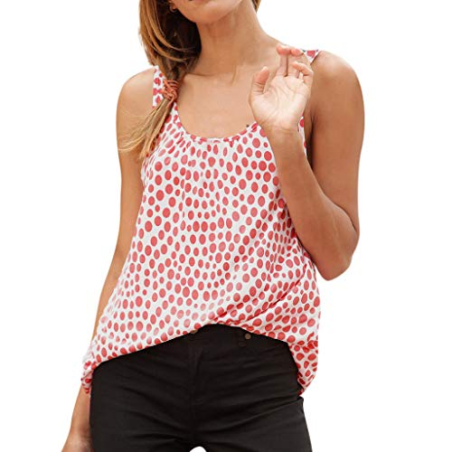 Oksea Ärmellose roten Punkten Ärmellose Damenweste mit Print O Neck Lässige Sommerhose Fledermausärmel O Ausschnitt Solid Slim Fit T-Shirt Top Bluse