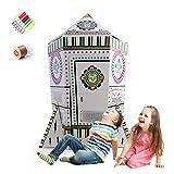 COOLDOT DIY Raketenhaus mit Licht und Musik Früherziehung Spielzeug Karton Spielhaus für Kinder zum Ausmalen