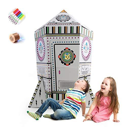 COOLDOT Cohete de cartón DYI para niños - Casa de Juguete con luz y música - Juguete educación temprana en Colorear