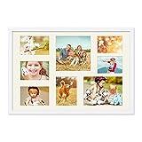 Photolini Fotocollage-Bilderrahmen 40x60 cm Modern Weiss Collagerahmen Bildergalerie-Rahmen für 8 Bilder Wechselrahmen mit Passepartout
