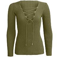 Jersey Mujer otoño Mujeres Ocasionales suéter de Mujer Invierno suéter de Manga Larga de Punto Vendaje suéteres suéter Mujer Manga Larga Blusa Camiseta Tops QINGXIA_ZI
