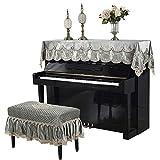 Contactsly-home Verzierter Klavierbezug Modern Minimalist Piano-Handtuch Klaviertuch Halbbezug staubdicht Stickerei maschinenwaschbar ohne Bankauflage, Stoff, grün, 90x220cm