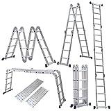 Homgrace 4.7M Leiter Mehrzweckleiter Klappleiter mit Plattform 4x4 Sprossen Aluleiter Anlegeleiter Stehleiter aus Hochwertigem Alu 150 kg Belastbarkeit