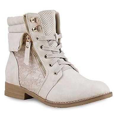 Stiefelparadies Damen Stiefeletten Schnürstiefeletten Leder-Optik Schuhe Spitzenstoff Boots Zipper Schnürboots 130897 Creme Spitze 35 Flandell