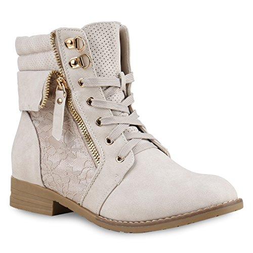 Stiefelparadies Stiefelparadies Damen Stiefeletten Schnürstiefeletten Leder-Optik Schuhe Spitzenstoff Boots Zipper Schnürboots 130897 Creme Spitze 36 Flandell