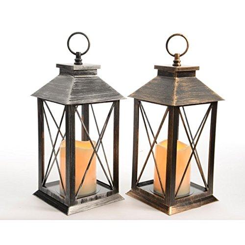 34cm LED Traditional Hanging Outdoor Lantern With Timer - Antique Black by Kaemingk