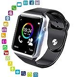 Orologio intelligente, Bluetooth Smartwatch Fitness Tracker con fotocamera SIM Card Slot Pedometro Sport Smart Watch per uomo Donna Bambino, per Android iPhone (Argento)