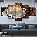 gwgdjk Pittura di Arte della Parete Modulare HD Stampato Moderno 5 Pannelli di Chicchi di caffè per Soggiorno Immagini Home Decor Canvas Poster-40X60/80/100Cm,Without Frame