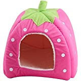 Cute Soft Sponge SFNet White Dots Strawberry Pet Cat Dog House Bed With Warm Plush Pad … (XXL, Pink)