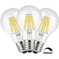 TAMAYKIM A60 6W Dimmerabile Antico Edison Stile Filamento Lampadina LED - 2700K Bianco Caldo 600 lumen - 6W equivalente a 60W - Attacco E27 - 360° Angolazione Fascio Luce - 3
