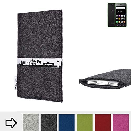 flat.design für Hisense Rock Lite Schutztasche Handy Hülle Skyline mit Webband Wien - Maßanfertigung der Schutzhülle Handy Tasche aus 100% Wollfilz (anthrazit) für Hisense Rock Lite