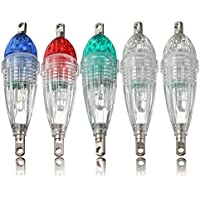 5 pcs Colorido Mini LED Lampara del Pescar por la Noche,Hoyoo,Luz de Cebo,LED de Pesca Squid Lure,Luz del Acuático para Peces