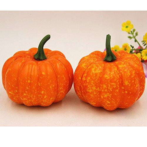 n-Party Artificial Kürbis Simulation gefälscht Naturgetreue Props Squeeze Toy Garten Inneneinrichtungen (B) (Orange Und Schwarz Halloween Nägel)