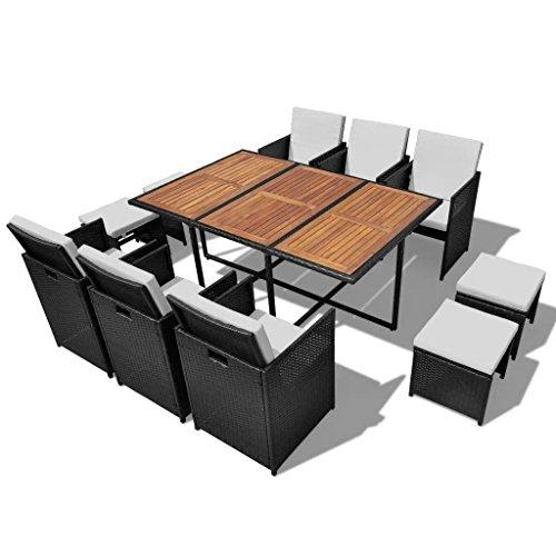 binzhoueushopping Mobilier de Jardin 27 pcs Noir et en Bois d'acacia Dimensions de la Table 167 x 109 x 74 cm (L x l x H) mobilier Jardin Exterieur Résine tressée
