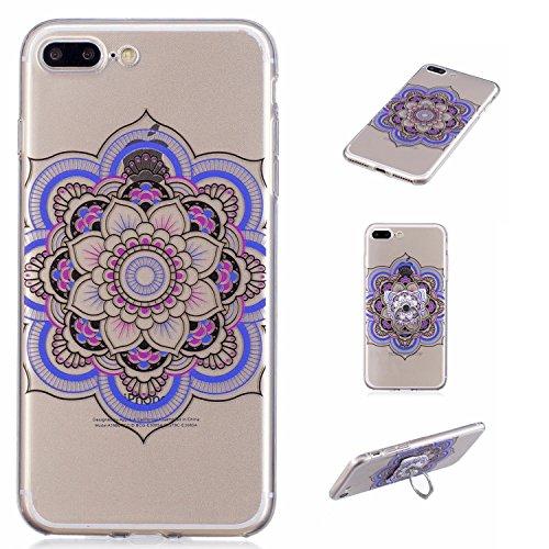 Custodia Cover Per Apple iPhone 7 plus / 8 plus , WenJie Fiore di sole indiano Trasparente Silicone Sottile Back Case Molle di TPU Trasparente per Apple iPhone 7 plus / 8 plus FD61