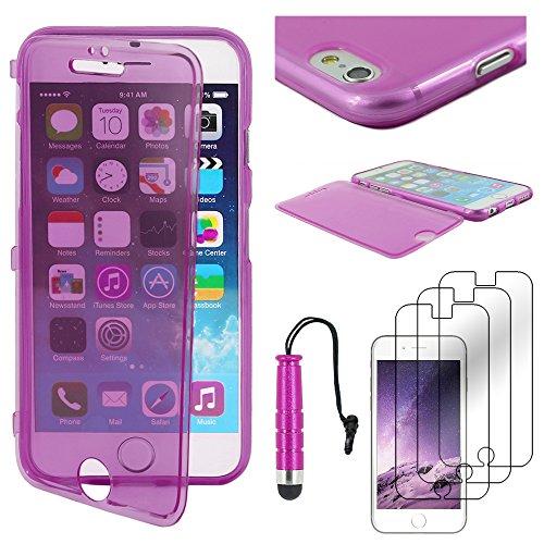 """ebestStar - pour Apple iPhone 6S 6 Plus écran 5,5"""" - Housse Etui Coque Silicone Gel Portefeuille + Mini Stylet tactile + 3 Films protection écran, Couleur Rouge [Dimensions PRECISES de votre appareil  Violet"""