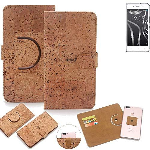 K-S-Trade Schutz Hülle für BQ Readers Aquaris X5 Plus Handyhülle Kork Handy Tasche Korkhülle Schutzhülle Handytasche Wallet Case Walletcase Flip Cover Smartphone