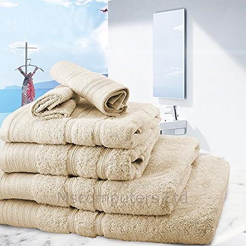 6 Towel Set Bathroom Cotton Blend Towel Set Face/Hand/Bath Towels (Champagne Gold)