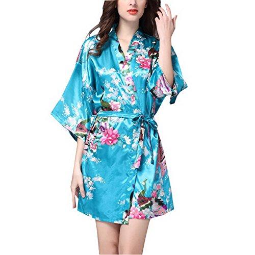 Ahatech Komfortable Blumen Seide Nachthemd Blau