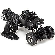 Virhuck 1139 (A) 1/18 Scale 4WD Rock Crawler con Carcasa Metálica,2.4GHz Vehículo Todoterreno RC Car 4MPH Regalos de Navidad presentes(Negro)