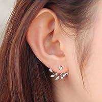 1Pair Women Fashion Leaf Crystal Ear Stud Earrings Earring Jewelry Gift RG