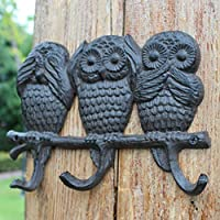 AOLIr Hanger Coat Rack European Wrought Iron Mother and Child Owl Hook Wall Hanging Hook
