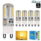 ELINKUME® G9 LED Lampen Dimmbar Warmweiß 3200K 3.5W (äquivalent zu 30W Halogen-Lampe) 350LM 360-Grad-Winkel AC 200-240V 5er-Pack