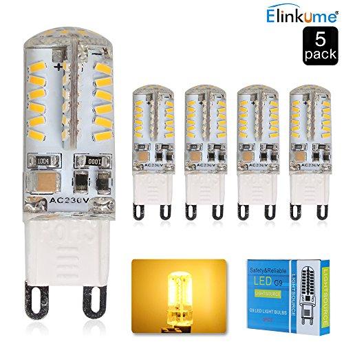 ELINKUME G9 LED, Warmweiß 3200K, 3.5W, äquivalent zu 30W Halogen-Lampe, Beam 320-350LM, 360-Grad-Winkel, AC 200-240V-5er Pack