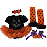 BabyPreg Pattino di Legging della fascia 4PCS della zucca del vestito da Halloween delle ragazze infantili di (S / 3-6 mesi, Zucca)