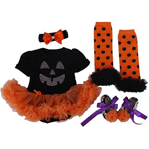 BabyPreg® Säuglingsmädchen 'Halloween-Kleid-Kürbis 4PCS Stirnband Legging Schuh (M for 6-9 months, Kürbis)