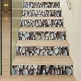 XIAOMAN Treppe Aufkleber 6 Stück Kopfsteinpflaster 3D Aufkleber Abnehmbare Selbstklebende DIY Kunst Aufkleber für Treppen 18 * 100 cm (Color : 1, Size : 18 * 100cm*6)