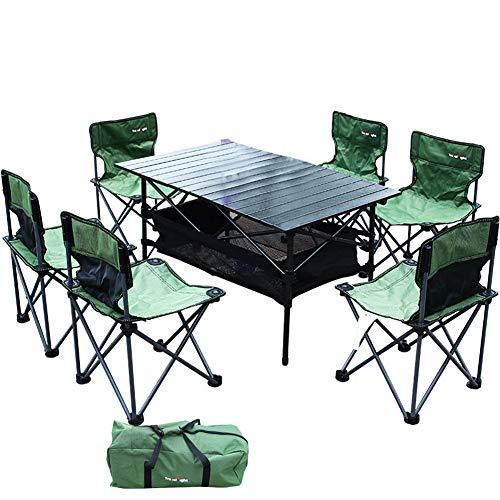Table pliante extérieure et ensemble de chaise approprié pour 4-6 personnes de camping BBQ tour d'auto-conduite en alliage d'aluminium matériel en tissu Oxford