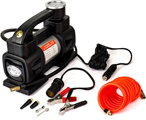 RNG EKO GREEN Double Cylinder 12V/150PSI Car Air Compressor Tyre Inflator with Led Emergency Light-Black (double power 70L/min, low noise 90 db)