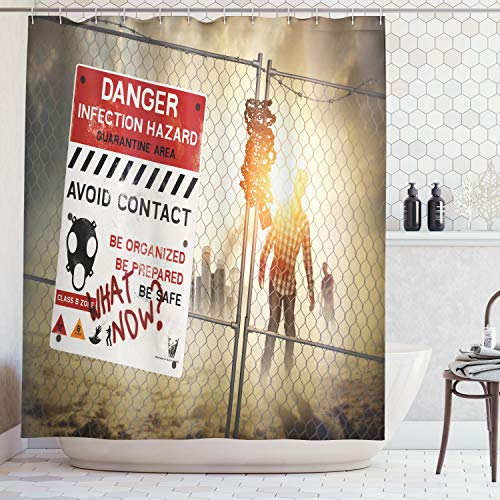 ABAKUHAUS Duschvorhang, Toter Mann Walking Dead Zombie Gefahr Angst Scene Fiction Halloween infektion Bild Muster Druck, Wasser und Blickdicht aus Stoff mit 12 Ringen Bakterie Resistent, 175 X 200 cm (Halloween-bilder Für Männer)