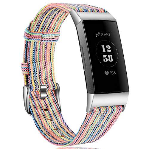 HUMENN Armband für Fitbit Charge 3 Woven Armbänd, Ersatzband Gewebte Stoff Armbands Zubehör Sport Armbänder für Fitbit Charge 3, Klein Bunt