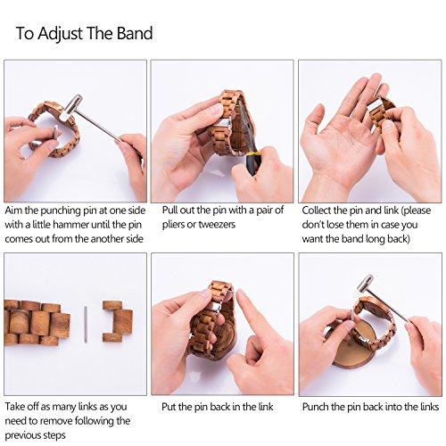Sentai Männer Frauen Holz Armbanduhr Analog anzeige japanischen Quarz mit Holzband1003 - 6