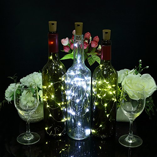 6pcs lampade a bottiglia– 100 cm luci per le bottiglie con 20 lampadine a led, led per bottiglie per la bottiglia fai da te, festa, decorazione, natale, halloween, nozze (bianca)
