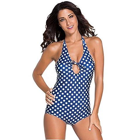 Erica Plage une pièce Halter Bikinis maillot de bain Vintage Polka Dots Wireless femmes rembourré soutien-gorge maillot de bain , as figure , m