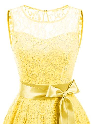 IVNIS Damen Vintage Floral Kleider Brautjungfernkleider Spitzenkleid Ärmellos Fliege Partykleid Gelb