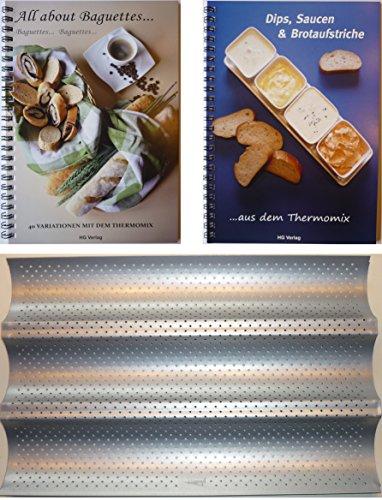 HG Verlag PXL-Set Baguetteblech + 2 Bücher: All About Baguettes+Dips, Saucen & Brotaufstriche aus- mit dem Thermomix TM21 TM31 TM5 ...