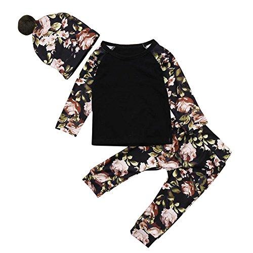 SCEFL Baby Jungen Mädchen Schwarz Floral Tops + Hosen + Pelz Pom Pom Hut Kleidung Set Outfits (Schwarz, 0-6 Monate) (Stück Pyjamas 2 Pjs Jungen)