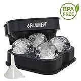 FLAMEN Fabricante de bolas de hielo - Bandeja de Silicona Flexible, bola de hielo Perfecta esfera para Parte / Cóctel / Licor / bebidas