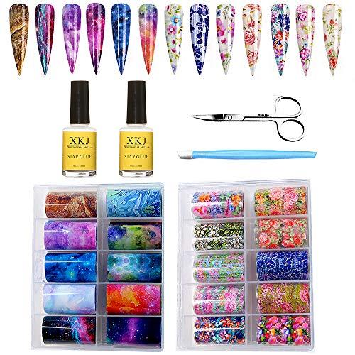 20 Colore Olografico Nail Foil Transfer Stickers Kalolary