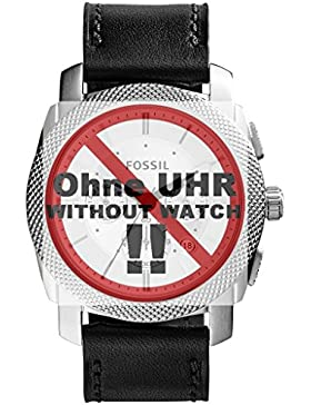 Fossil Uhrband Wechselarmband LB-FS5038 Original Ersatzband FS 5038 Uhrenarmband Leder 24 mm Schwarz