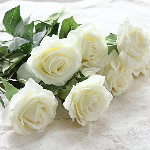 floristikvergleich.de NO:1 Rose Bridal Wedding Bouquet Dekoration Latex Real Touch künstliche Blumen weiß 10 Stück
